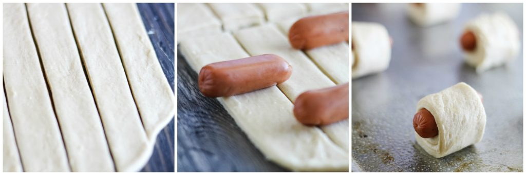 a three image collage showing how to pre and roll pigs in a blanket appetizers