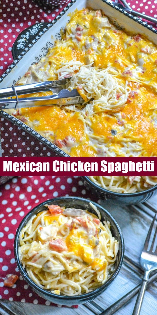 A new spin on the classic pasta dinner, this Cheesy Mexican Chicken Spaghetti is a creamy pasta casserole with a Tex Mex spin, and a delicious, melty cheddar cheese topping.