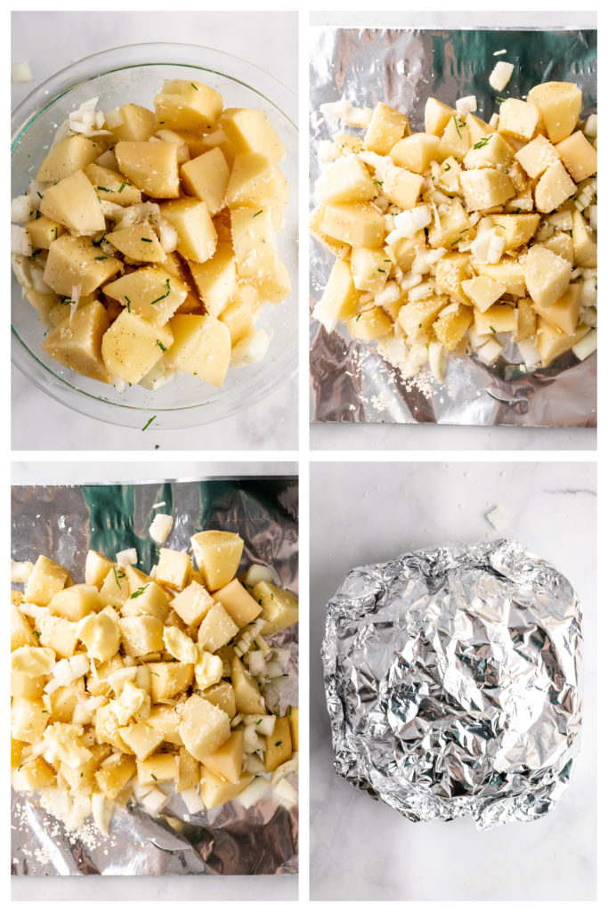 a four image collage showing how to assemble three cheese potato foil packets