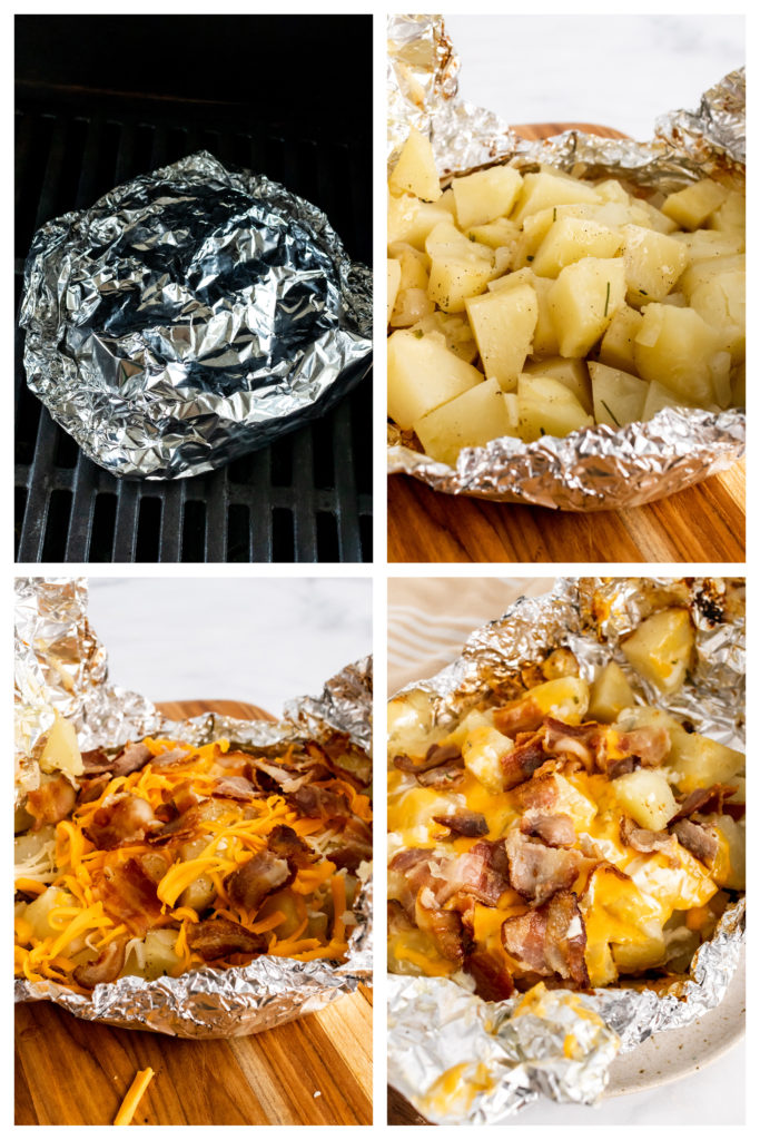 a four image collage showing the finishing steps for three cheese potatoes after grilling