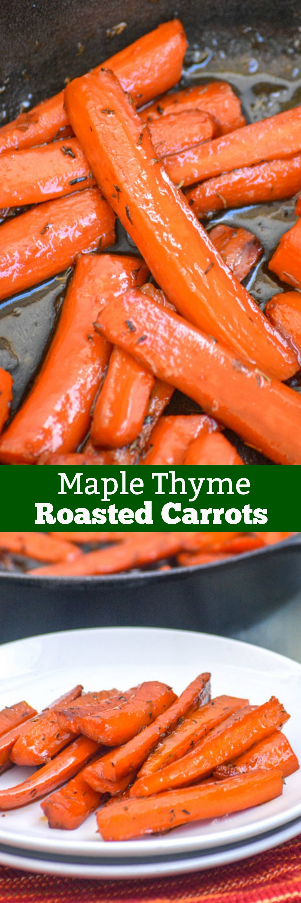 Do you like your vegetables? On the fence? Turn your veggies into something you love with these Maple Glazed Thyme Roasted Carrots. Tender roasted carrots are glazed with smooth maple syrup, sauteed with thyme leaves, and roasted to perfection. It's sure to be your go to side dish for any meal.