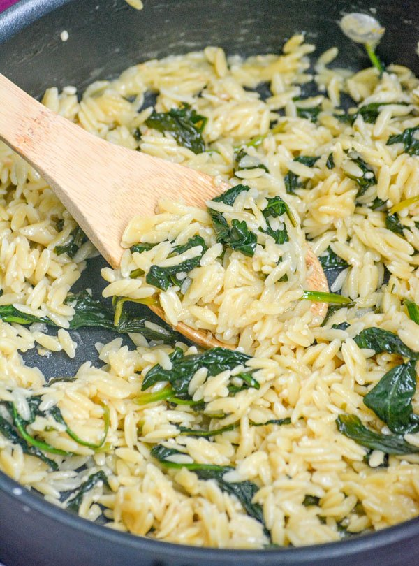 Spinach Parmesan Orzo Pasta