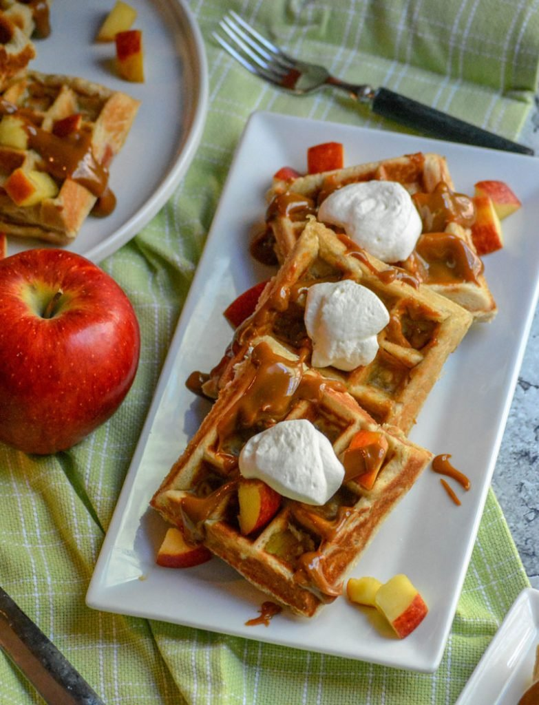 Caramel Apple Stuffed Waffles