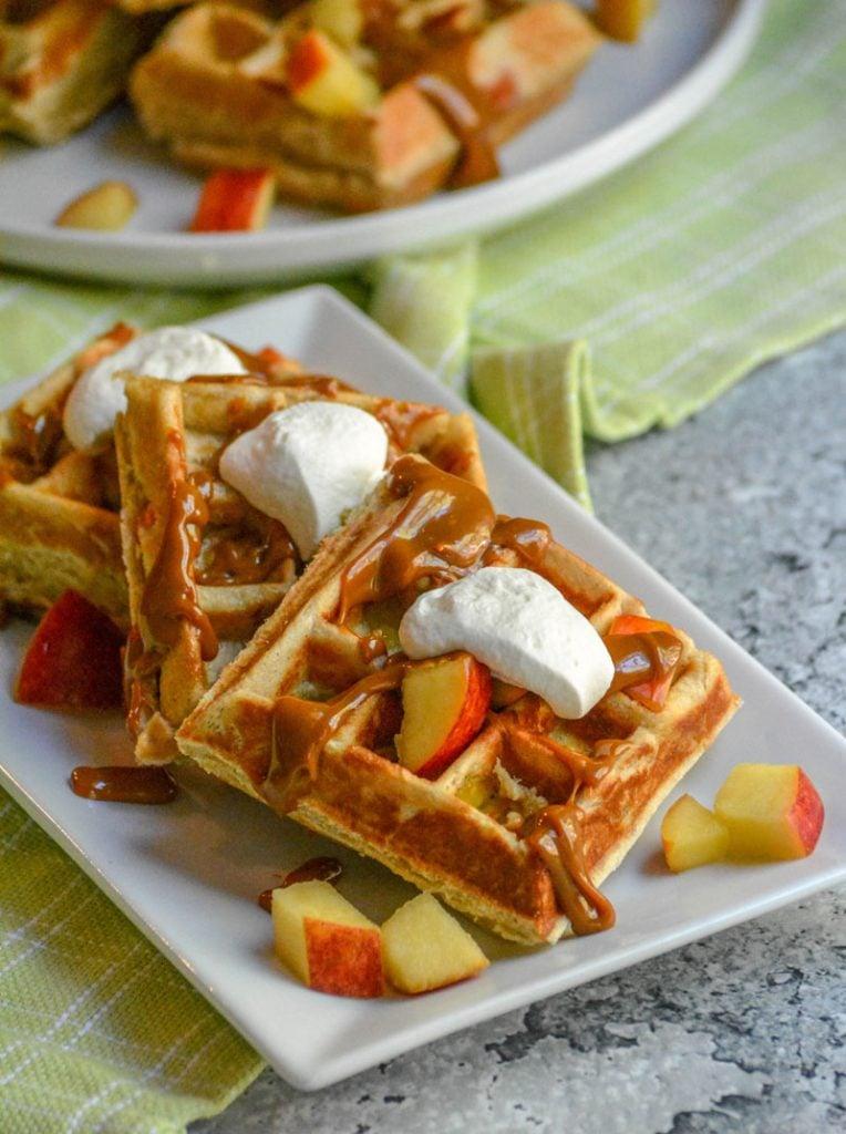Caramel Apple Stuffed Waffles
