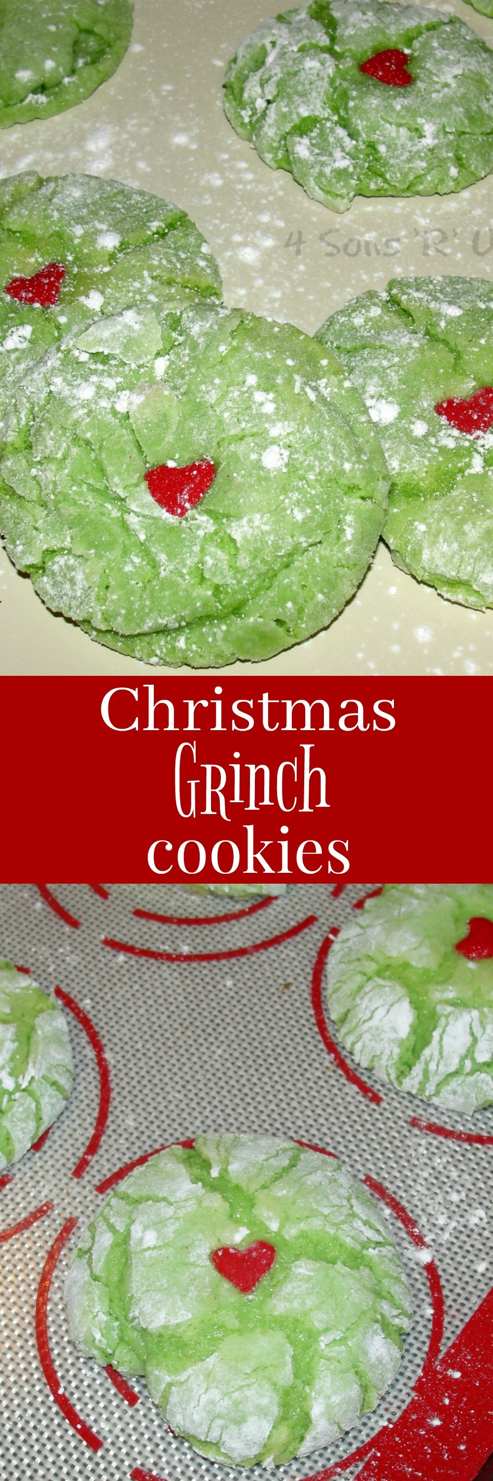 Quick and easy cake cookies are a soft, fluffy, melt-in-your-mouth treat. We've turned these Grinch Cookies green and given them a Grinchy make-over, turning them into fun Christmas-themed snack or dessert.