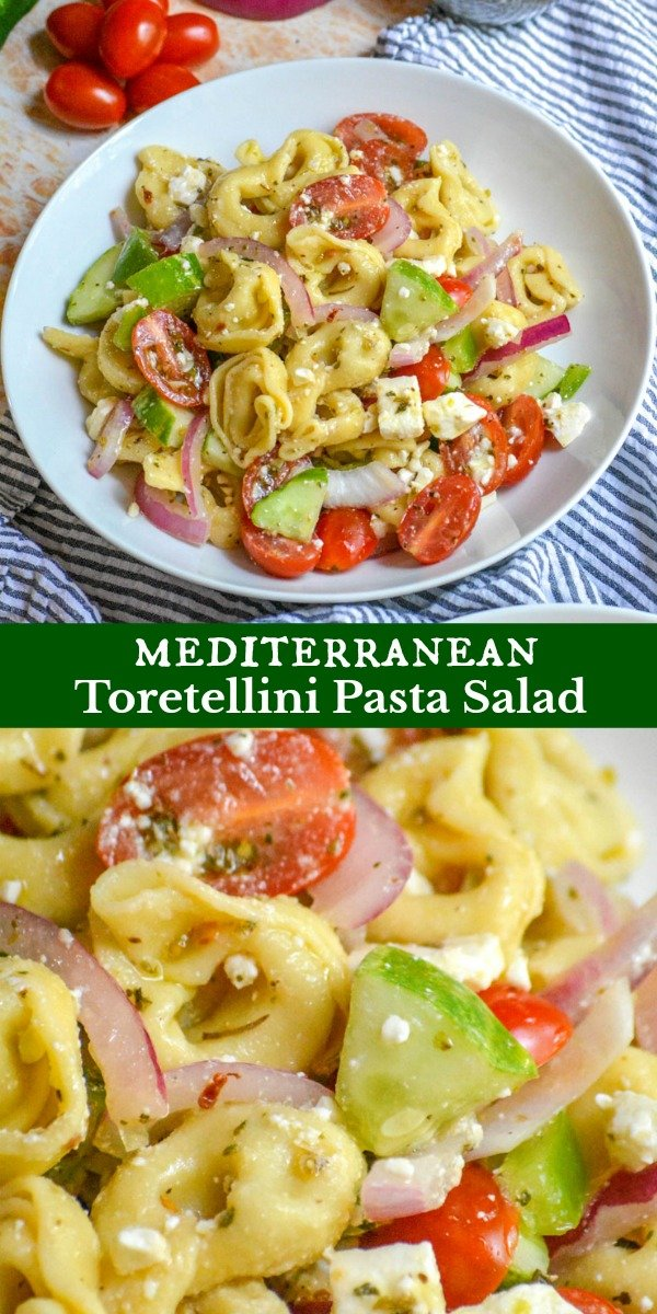 Mediterranean Tortellini Pasta Salad makes a filling vegetarian meal, or a flavor-packed Summer side dish. With bright, fresh veggies, cheese filled tortellini pasta, and salty feta cheese tossed in a Greek-style red wine vinaigrette this is bound to be the headliner of any menu.
