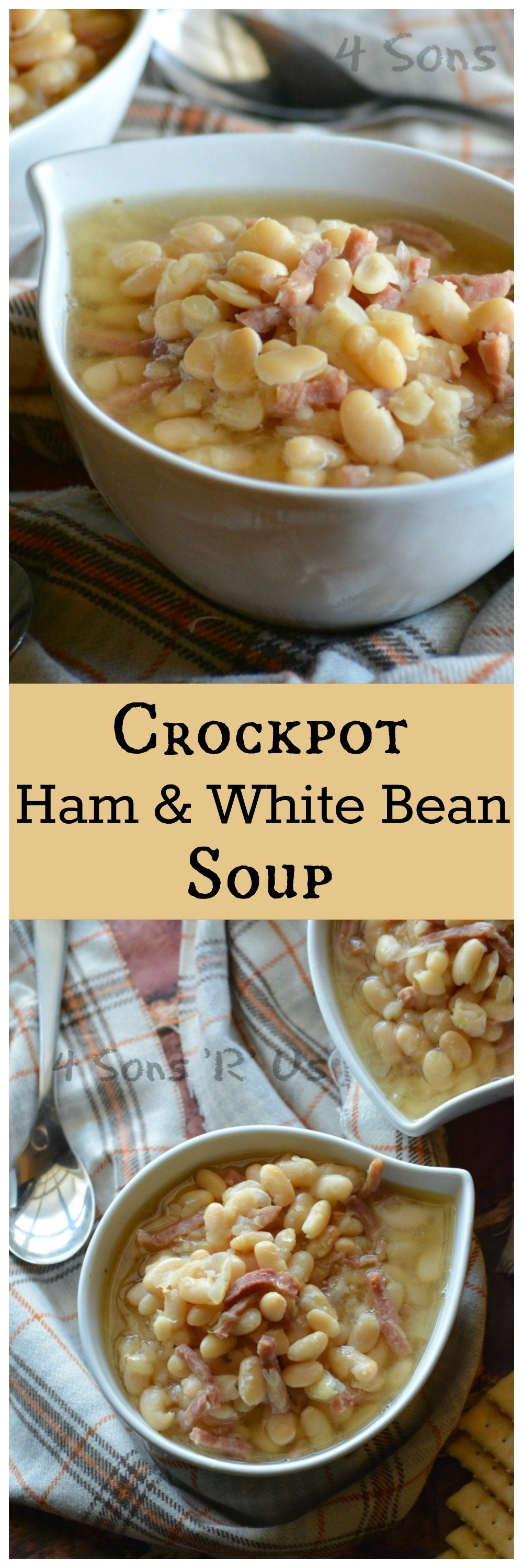 This Crockpot Ham & White Bean Soup is an easier, set it and forget it, variation of the classic. It's super simple with a very short ingredient list. It makes it quite a delightful surprise when you first dig in and discover just how incredibly flavorful it is.