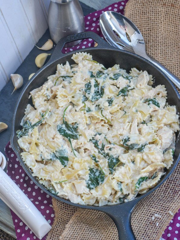 Chicken Florentine and Farfalle