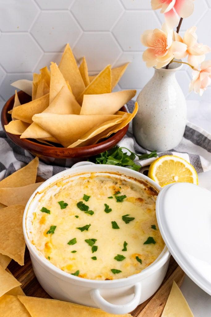 crab rangoon dip in a white bowl