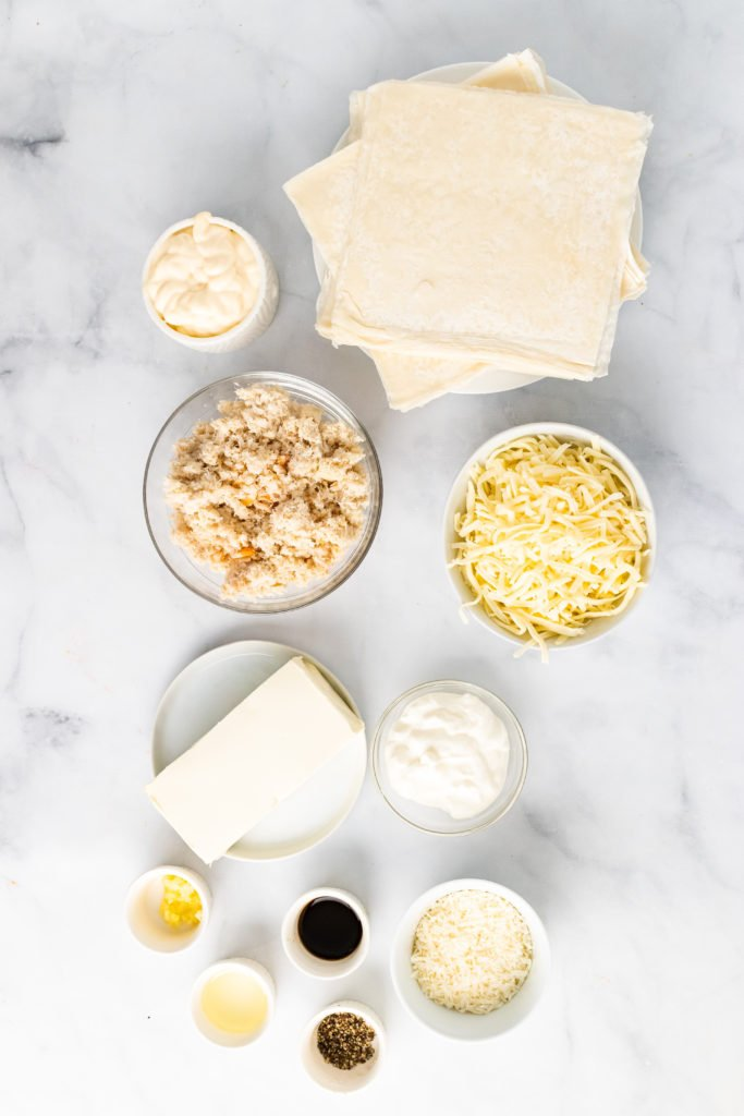 overhead image showing the ingredients needed to make crab rangoon dip