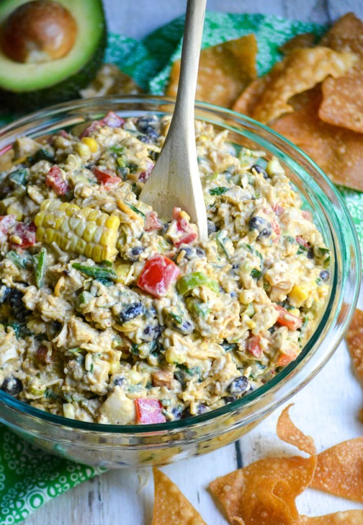 Southwestern egg roll dip in a glass bowl