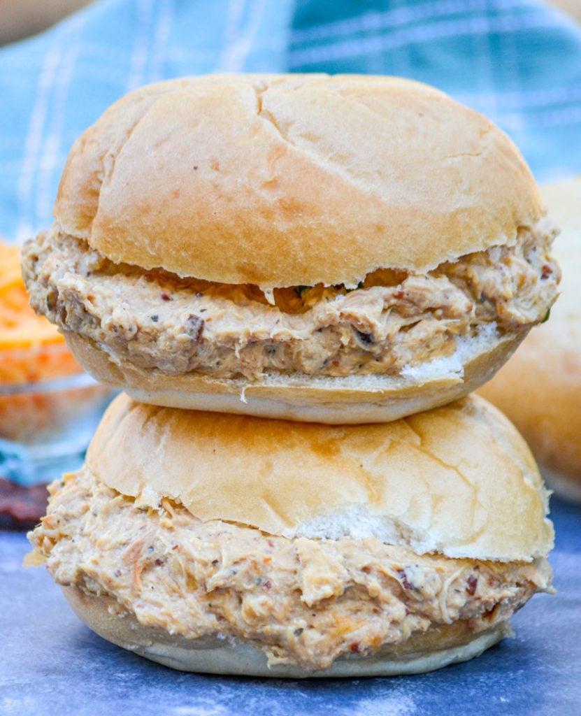 a stack of crockpot crack chicken sandwiches