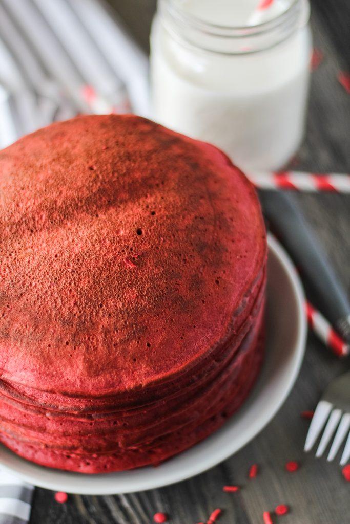 a stack of plain red velvet pancakes