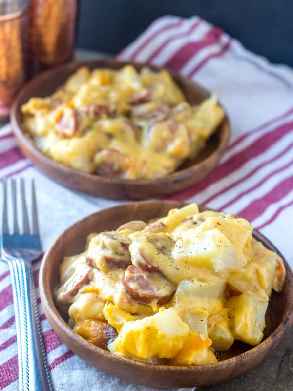 Cheesy Potato & Smoked Sausage Casserole