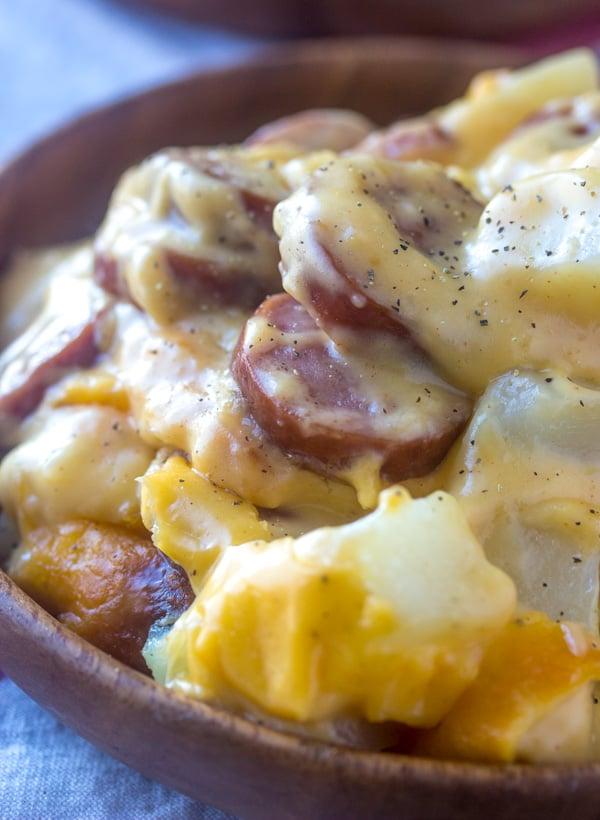 Cheesy Potato & Smoked Sausage Casserole