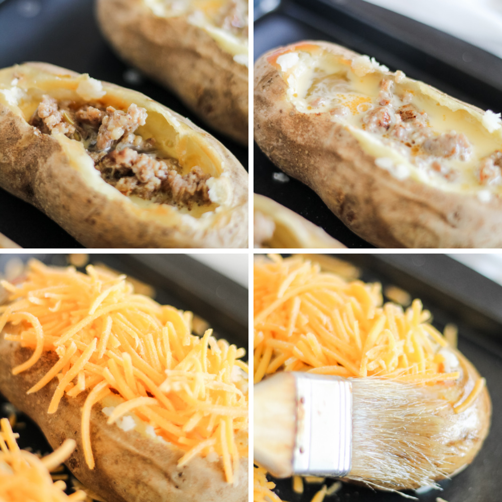 in process image collage of twice baked breakfast potatoes with 4 different pictures