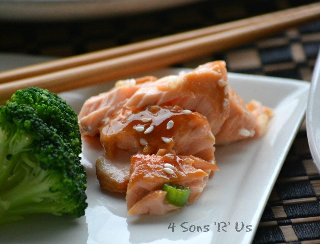Baked Teriyaki Salmon with A Sriracha Cream Drizzle