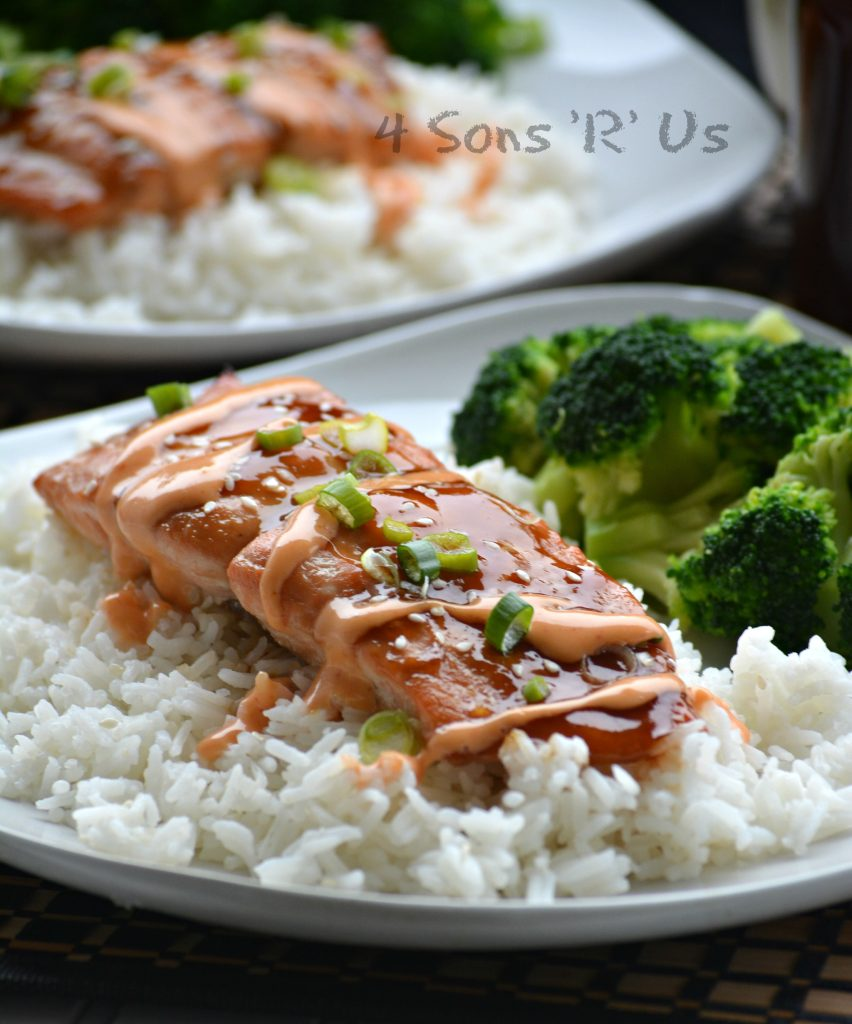 Baked Teriyaki Salmon with A Sriracha Cream Drizzle