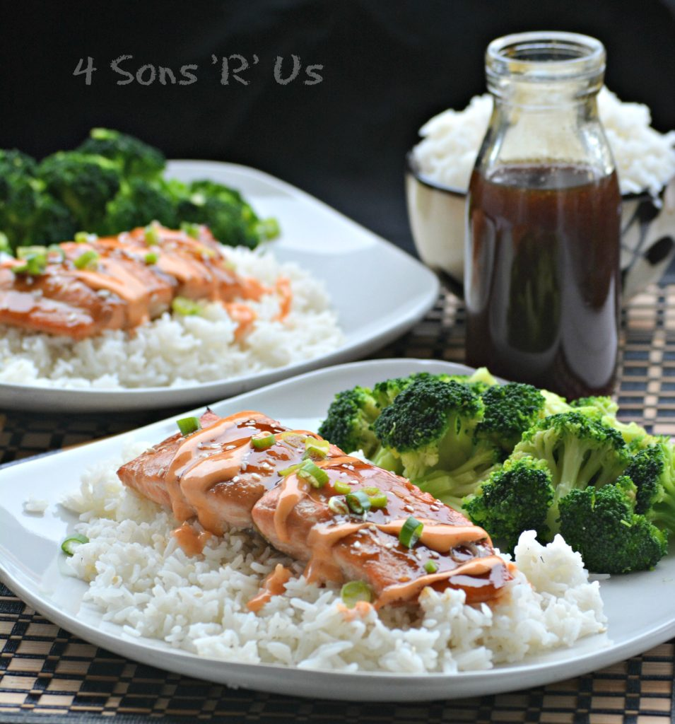 Teriyaki Salmon with a Sririacha Cream Drizzle