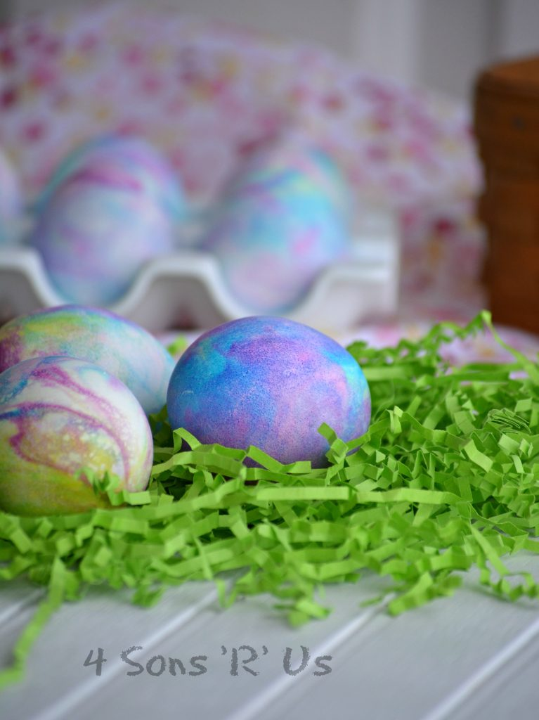 Shaving Cream Colored Easter Eggs - 4 Sons \'R\' Us