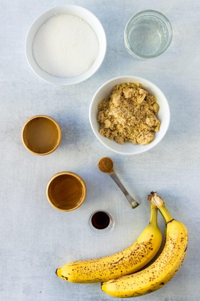 overhead shot showing the ingredients needed to make a batch of drunken monkey banana rum jam