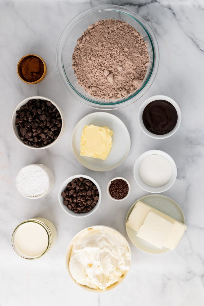 image showing the ingredients needed to make a hot fudge brownie cheesecake