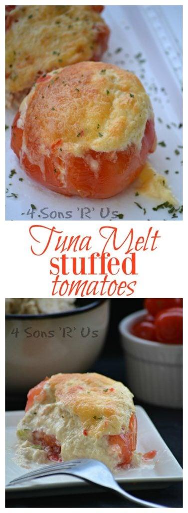 Tuna Melt Stuffed Tomatoes Collage