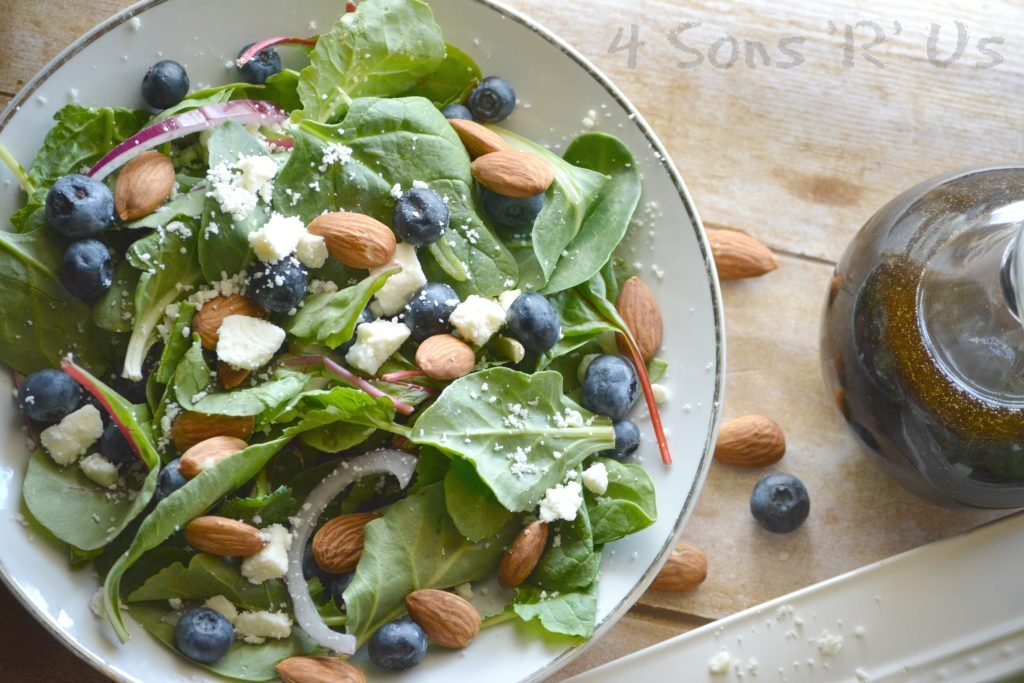 Blueberry Feta Spinach Salad with Lemon Poppyseed Vinaigrette