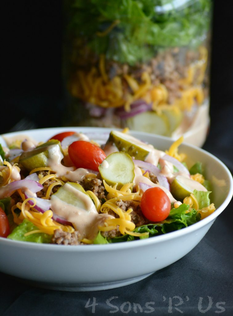 Cheeseburger Mason Jar Salad 3