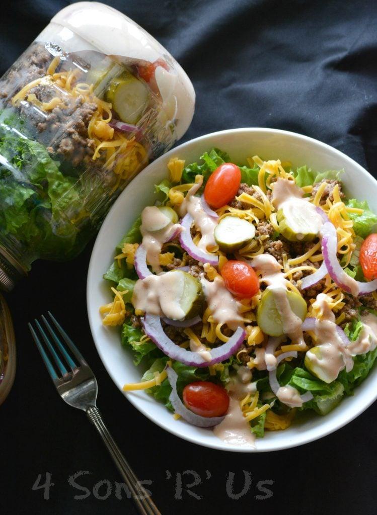 Cheeseburger Mason Jar Salad