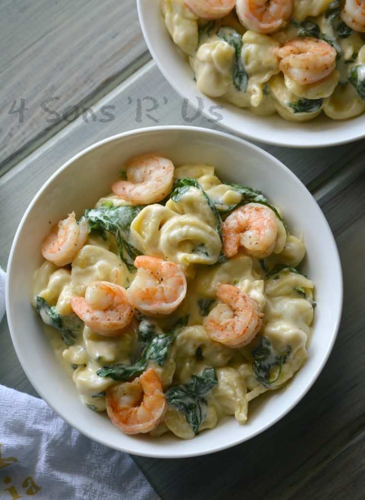 Creamed Spinach Tortellini with Seasoned Shrimp