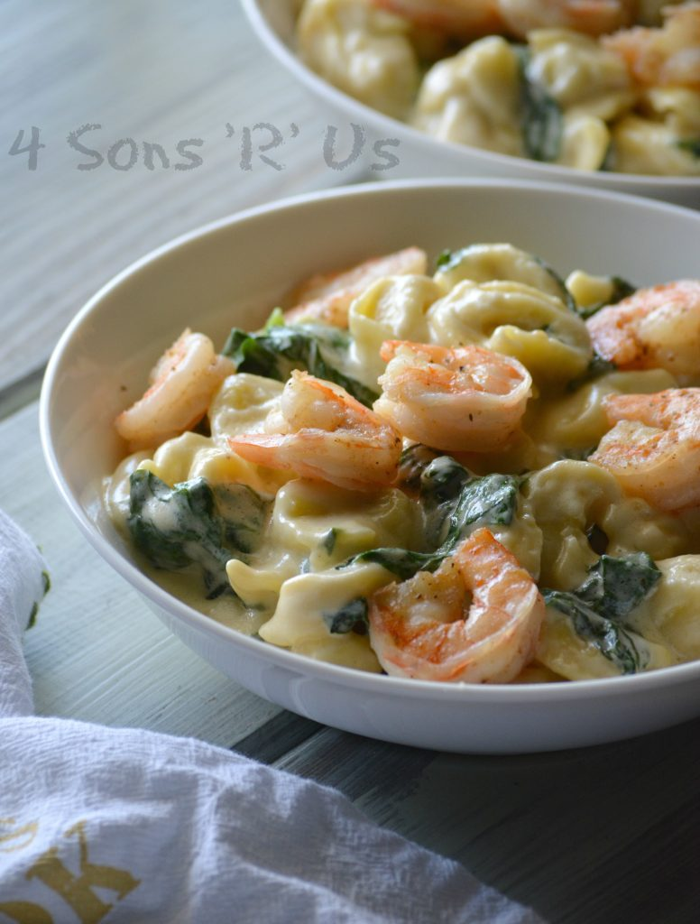 Creamed Spinach Tortellini with Seasoned Shrimp