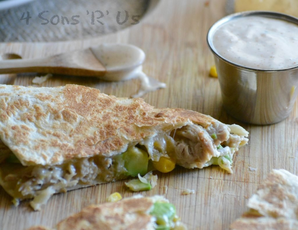 Sweet & Smoky Pork Quesadillas with Spicy Ranch Dressing