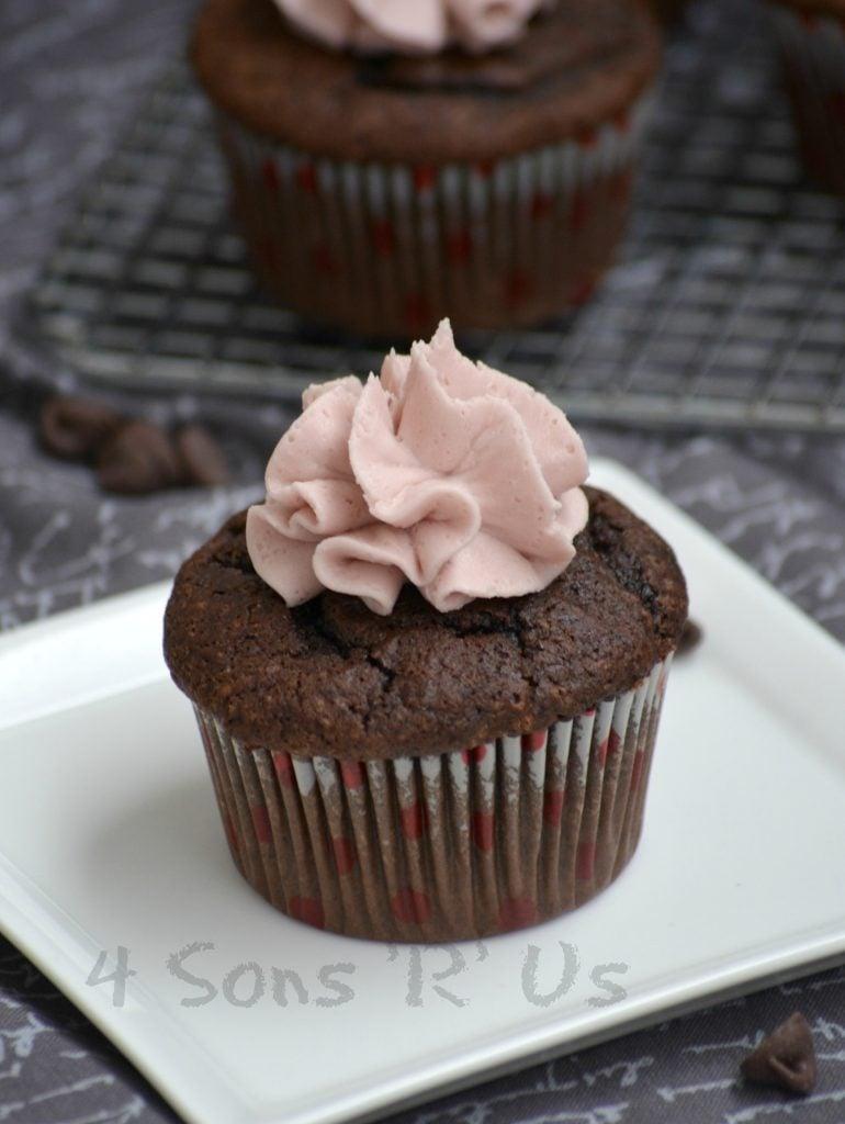 Dark Chocolate Cupcakes with Red Wine Buttercream