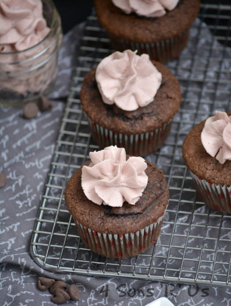 Dark Chocolate Cupcakes with Red Wine Buttercream