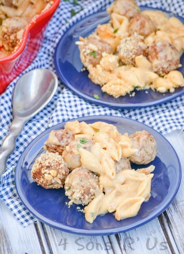 Cheesy Meatball & Shells Casserole