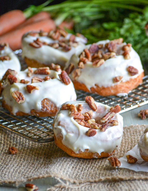 Carrot Cake Donuts with Cream Cheese Glaze