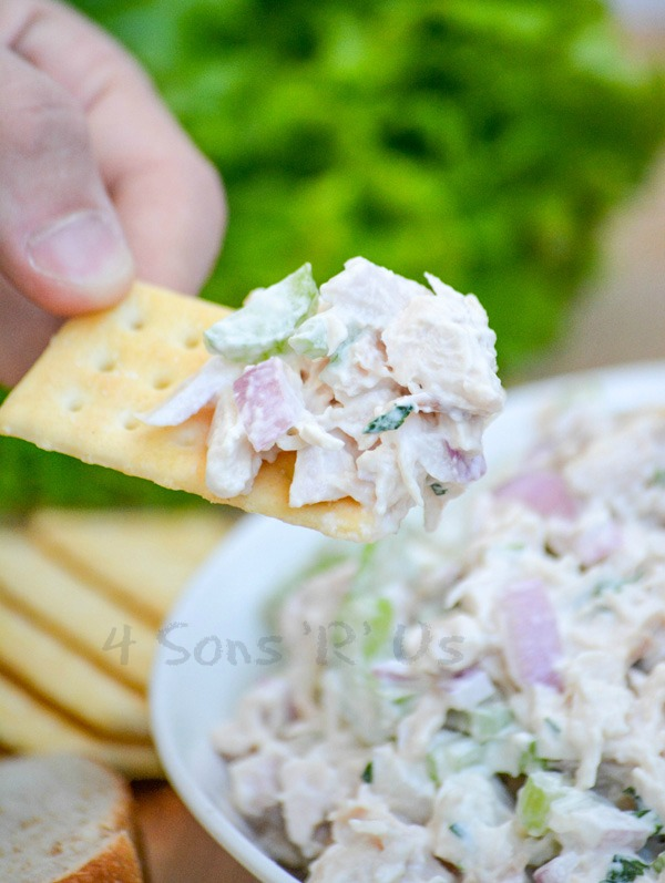 a hand holding a cracker aloft with a scoop of chopped lemon tarragon chicken salad on it