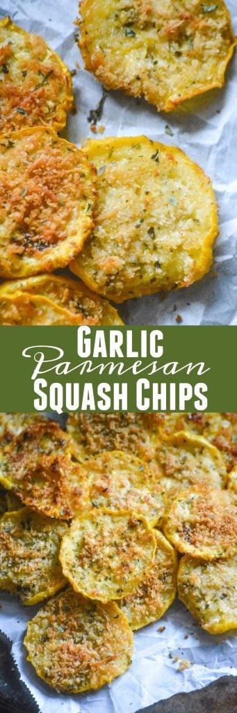 crispy garlic parmesan squash chips picture collage