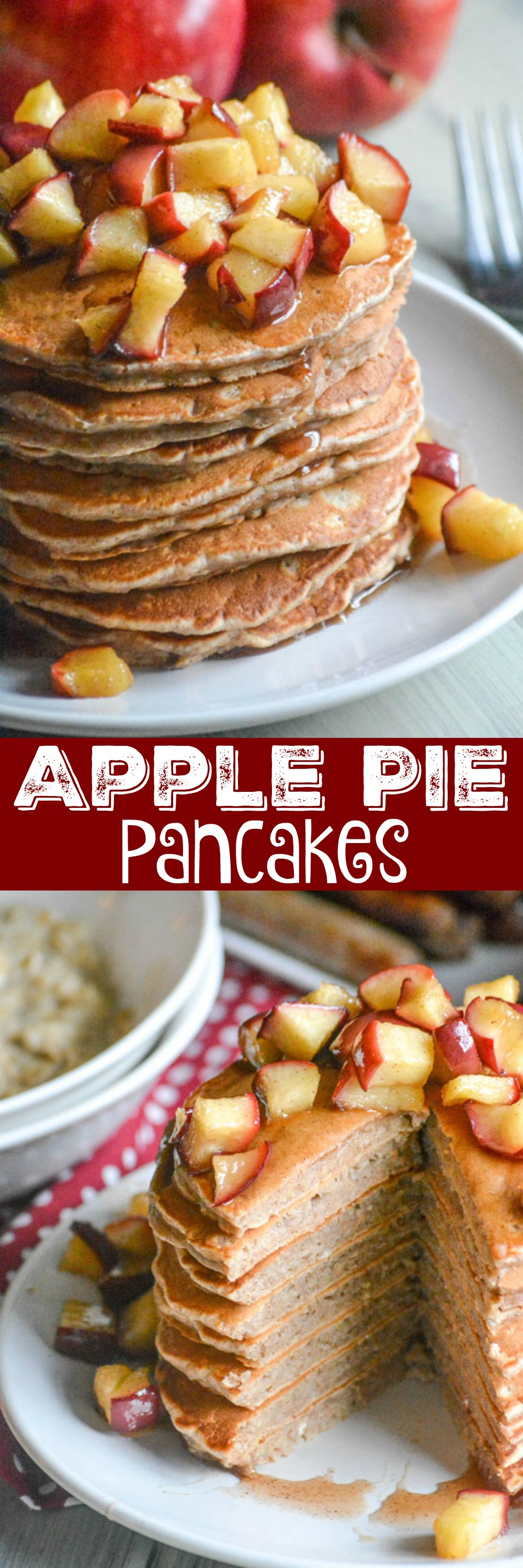 Warm Apple Pie Pancakes are the perfect thing for a Fall breakfast or brunch. With hints of cinnamon, nutmeg, & clove, these stacks are topped with a warm sauteed apple syrup. It's a whole some dish, with just the right amount of sweet thrown in. Get your apple pie fix, without all the work since it's not just for dessert anymore.