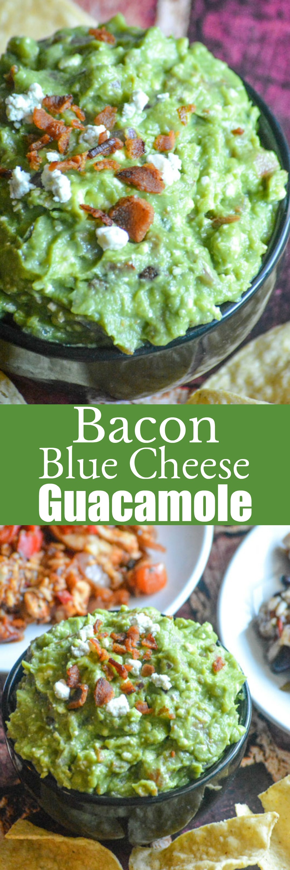 Fresh, creamy guacamole is a fan favorite appetizer, dip, even the perfect Tex Mex condiment. Up your game, and dress your guac to impress, by stirring in savory bacon bits and tangy blue cheese crumbles in this Bacon Blue Cheese Guacamole.