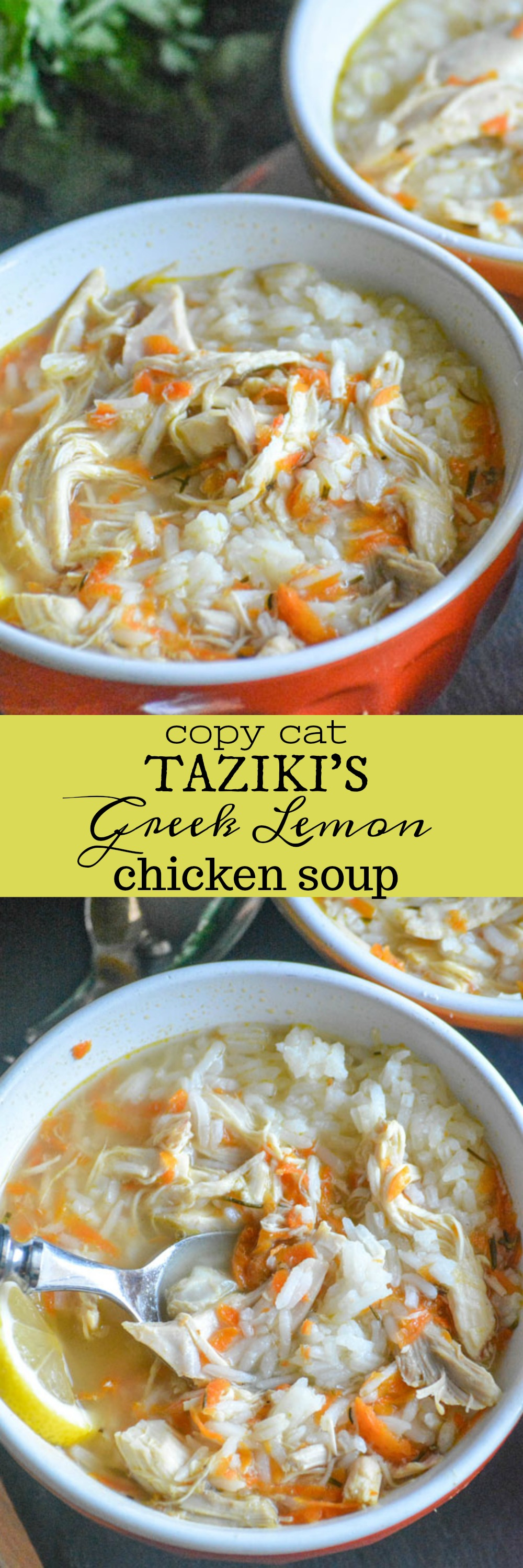 There's nothing quite as cozy, or as comforting, as a hot bowl full of chicken noodle soup. The traditional Greek version swaps noodles for rice, and adds a refreshing bit of tangy lemon with savory spices. This version is a spot on copy cat from one of our favorite cafe's, so you too can enjoy a heaping helping of Taziki's Greek Lemon Chicken Soup.