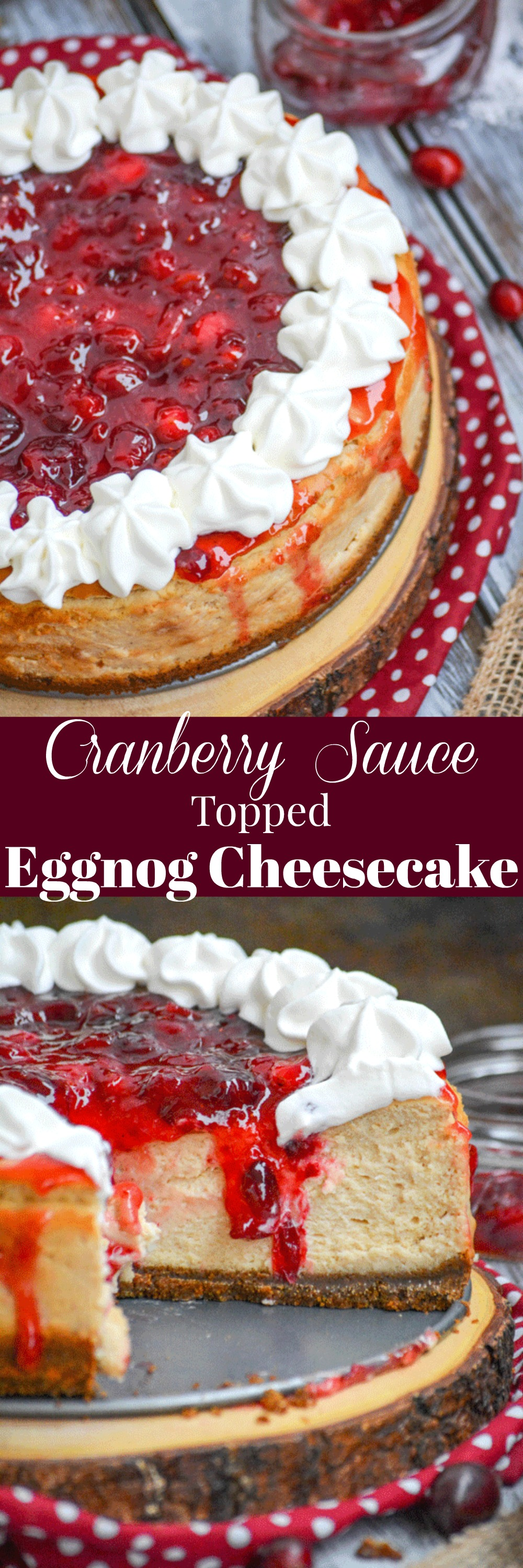 Cheesecake is a pretty universal dessert, perfect for anytime of the year. Infuse yours with the flavors of the Holiday season with our Cranberry Sauce Topped Eggnog Cheesecake. It's a little Christmas miracle in every bite.