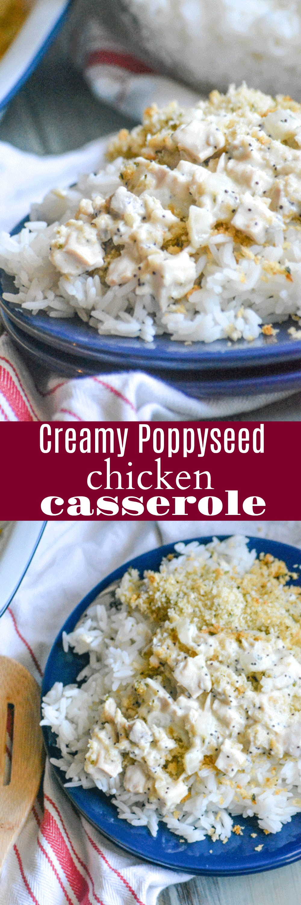 A creamy sauce laden with chunks of chicken, onions, garlic, & a sprinkle of poppy seeds is topped with a buttery cracker crumb topping.A quick and easy dinner solution, this Creamy Poppy Seed Chicken Casserole is just the meal you've been looking for.