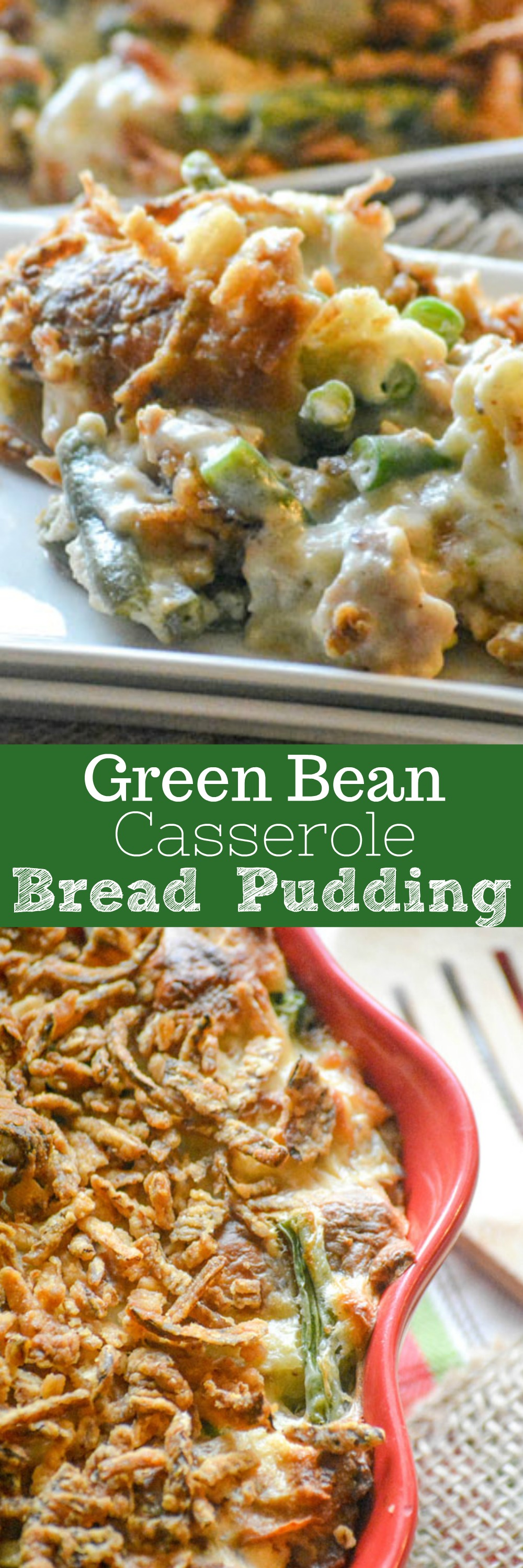 The holidays are coming, which means copious amounts of comfort foods & old family favorites. We've given this classic casserole a new look with our Green Bean Casserole Bread Pudding. It's great all by it's dang self, but paired with a turkey or ham it's the recipe for a perfect dinner.