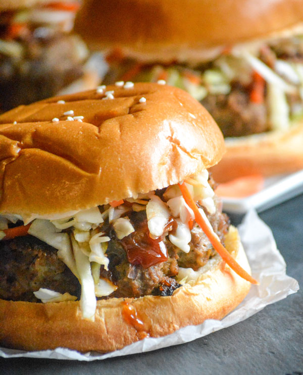Mongolian Barbecue Burgers with Asian Slaw