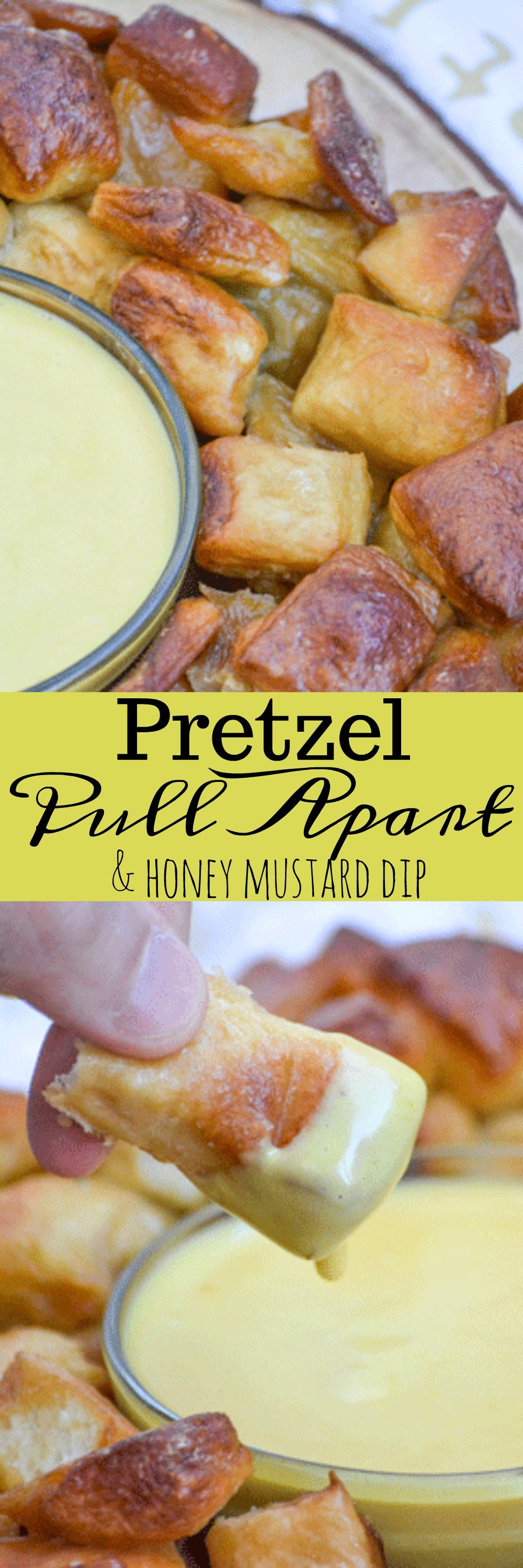 Football can be such a hot topic, it really can see a house divided. Unite everyone behind one spectacular dish with this Pull Apart Pretzel Bread & Honey Mustard Dip. Buttery, salted, golden brown pretzel bites are easily pulled apart and dipped in a lightly spiced honey mustard for an awesome appetizer every one will want to get behind.