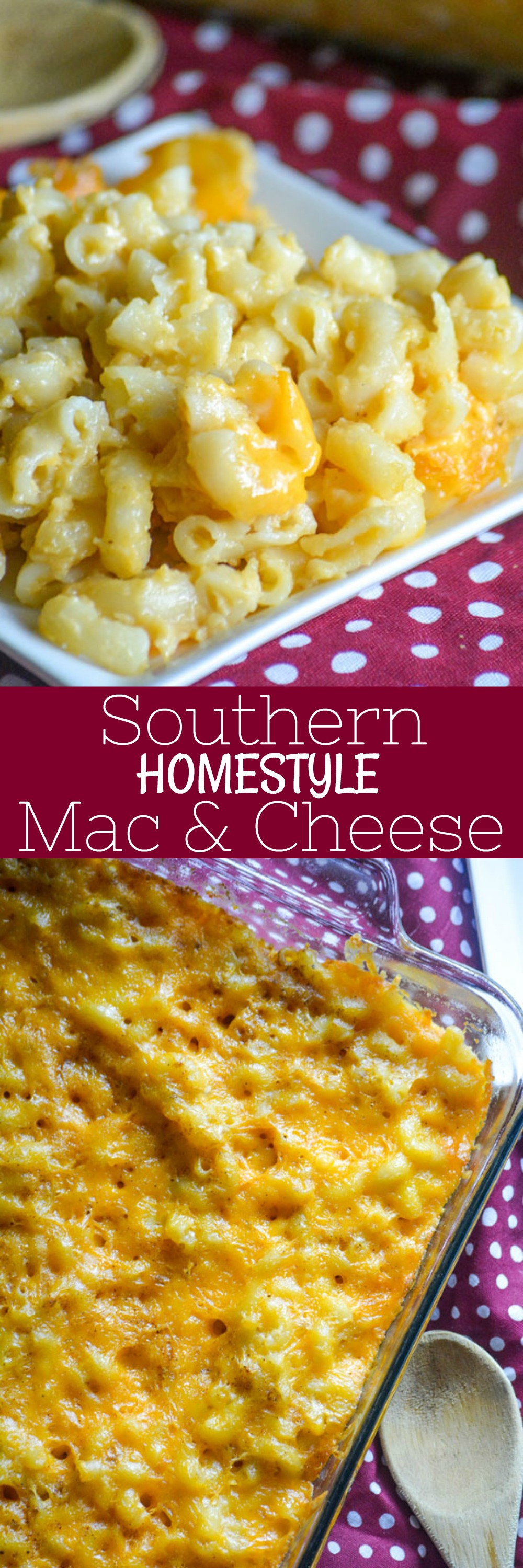 Creamy baked macaroni just like Grandma used to make, this Southern Homestyle Mac And Cheese will bring a taste of 'home' to any meal. Whether it's a quick weeknight dinner, or a dish to share with family and friends- this is a must have side dish.
