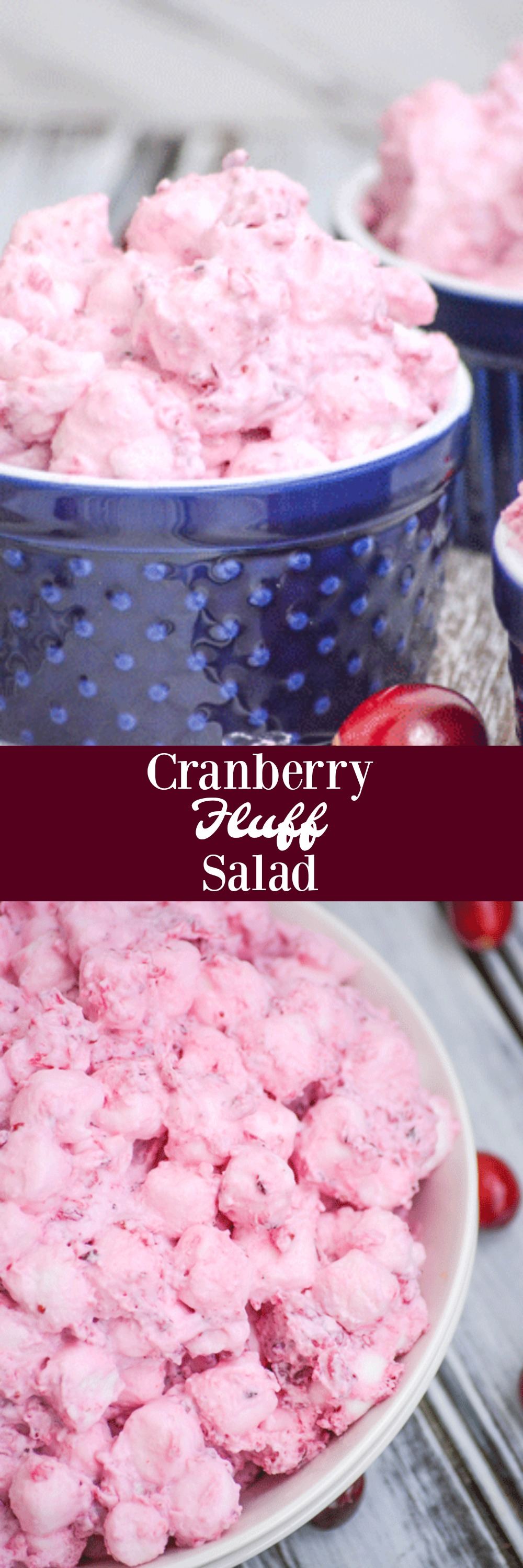 A seasonal favorite, this quick & easy Cranberry Fluff Salad features fresh cranberries, crushed pineapple, and mini marshmallows tossed in freshly whipped cream. It's the perfect dessert, whether you're just craving a bit of seasonal flavor or need to whip something up at the last second.