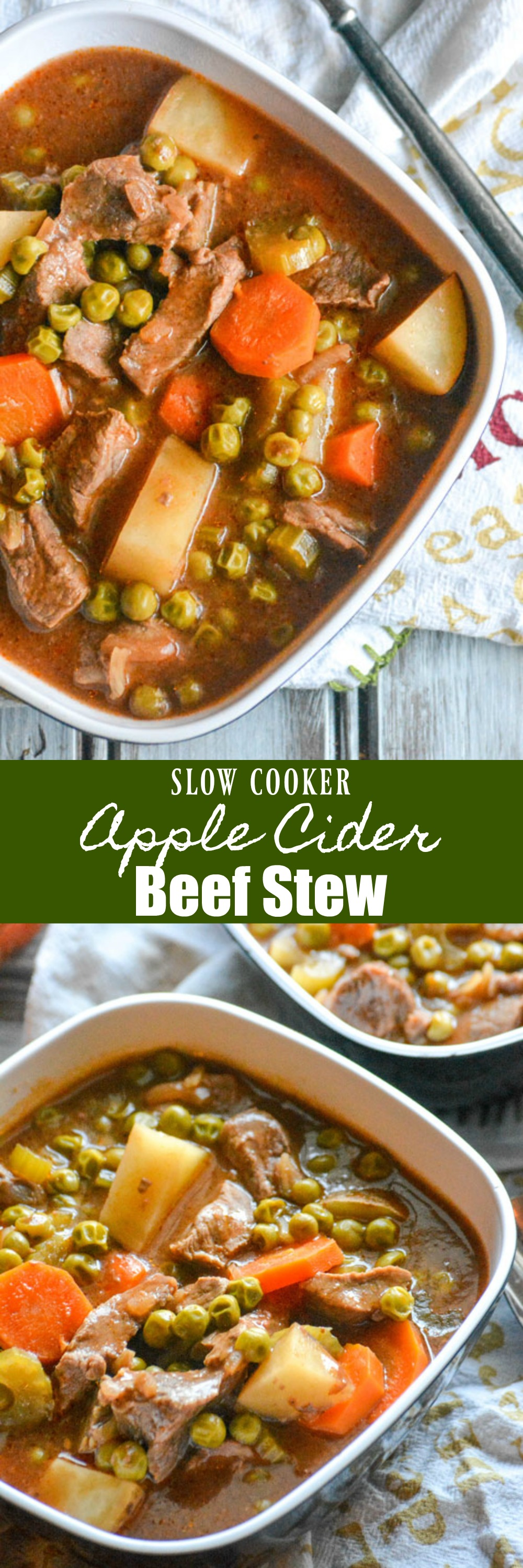 Cold weather got you feeling down? A heaping helping of this hearty slow cooked Apple Cider Beef Stew is just the kind of stick to your ribs lunch or dinner to lift your spirits. It even travels well, making it perfect for sharing. #soup #beefstew #slowcooker #crockpot #applecider